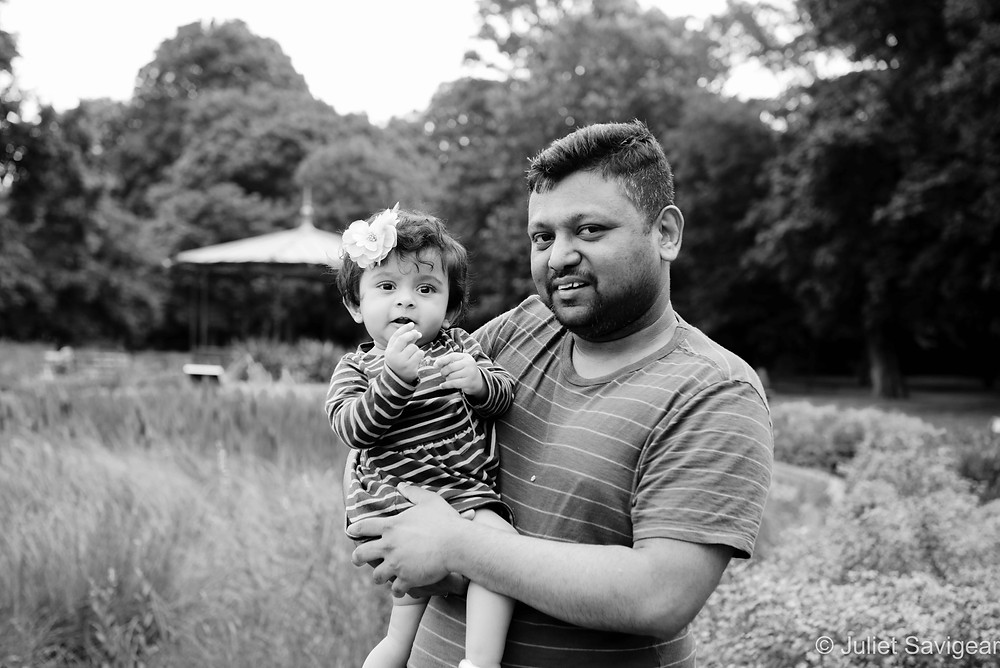 Father & baby in park
