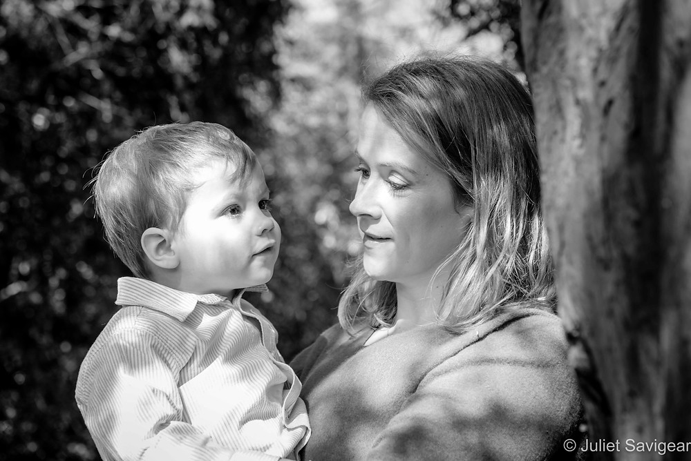 Mother & son in the dappled light