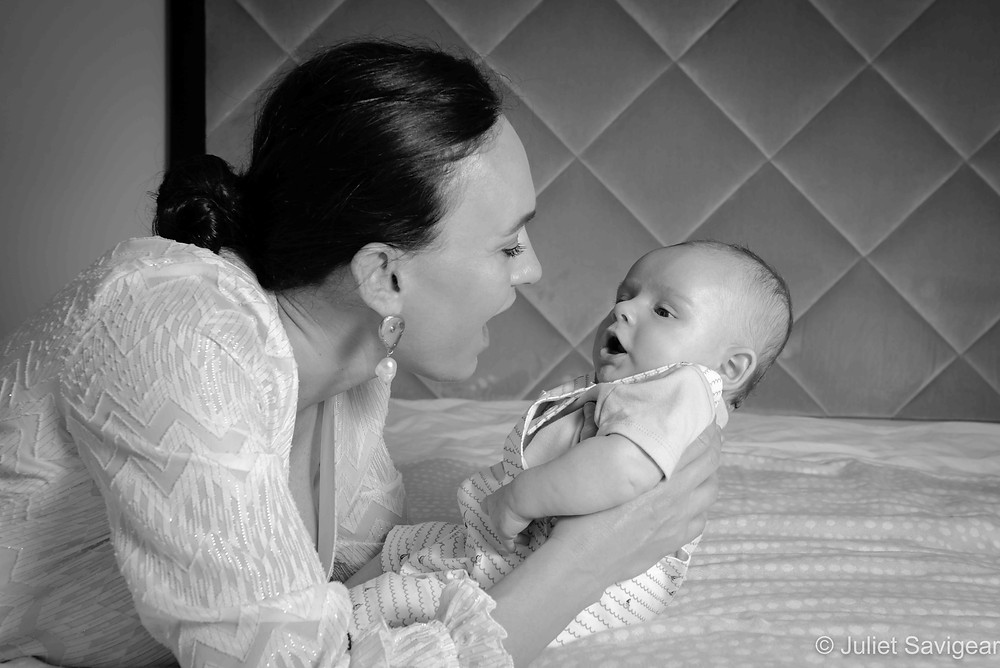 Mother & baby chatting