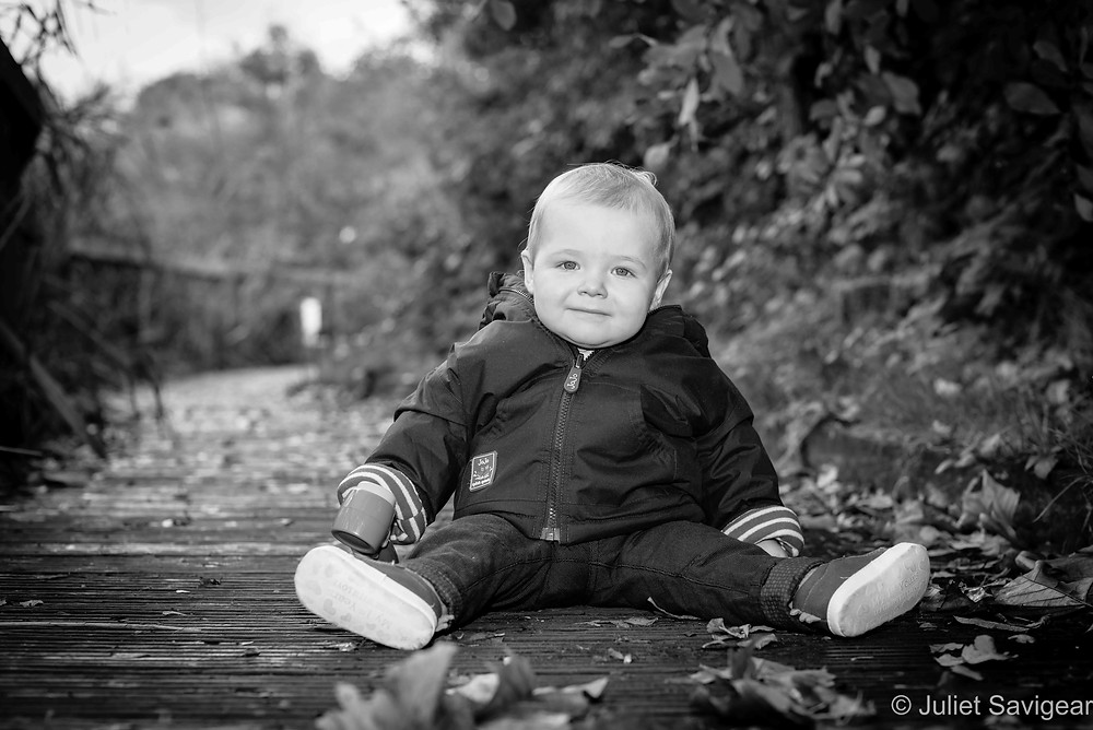 Baby boy on the Wandsworth Common boardwalk