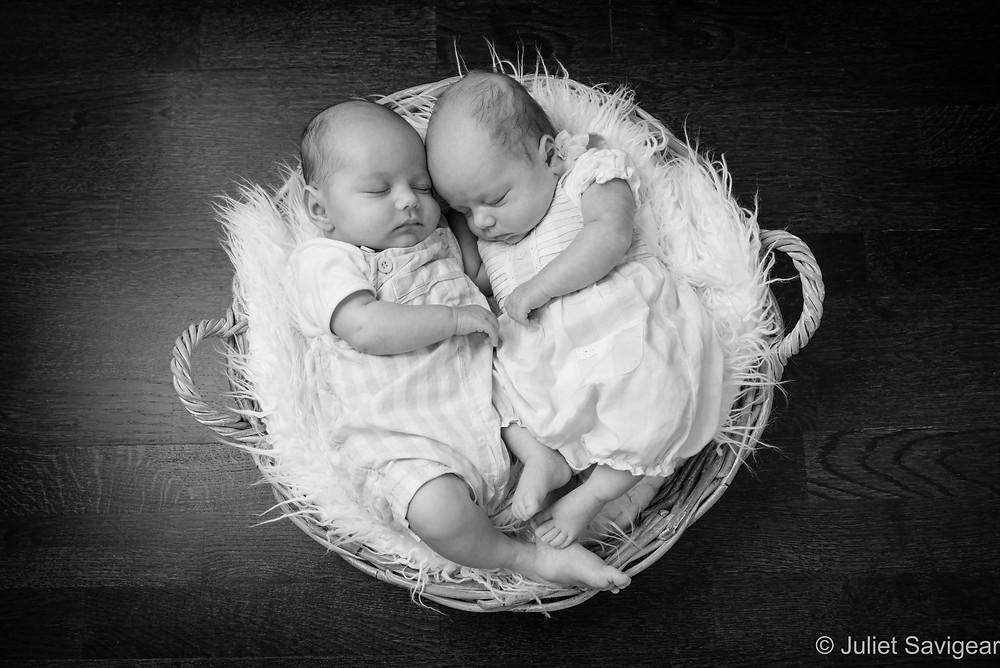 Twin babies in basket