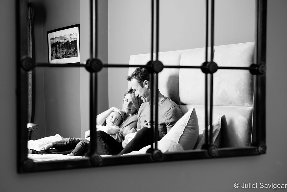 Family portrait in mirror