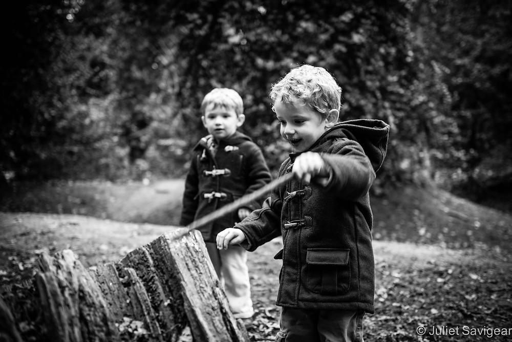 Sticks & Stumps - Twin Children's Photography, Chiswick