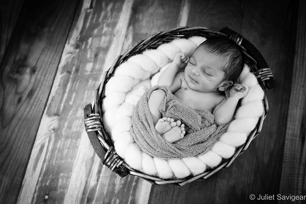 Sleeping Baby In Basket - Newborn Baby Photography, Clapham