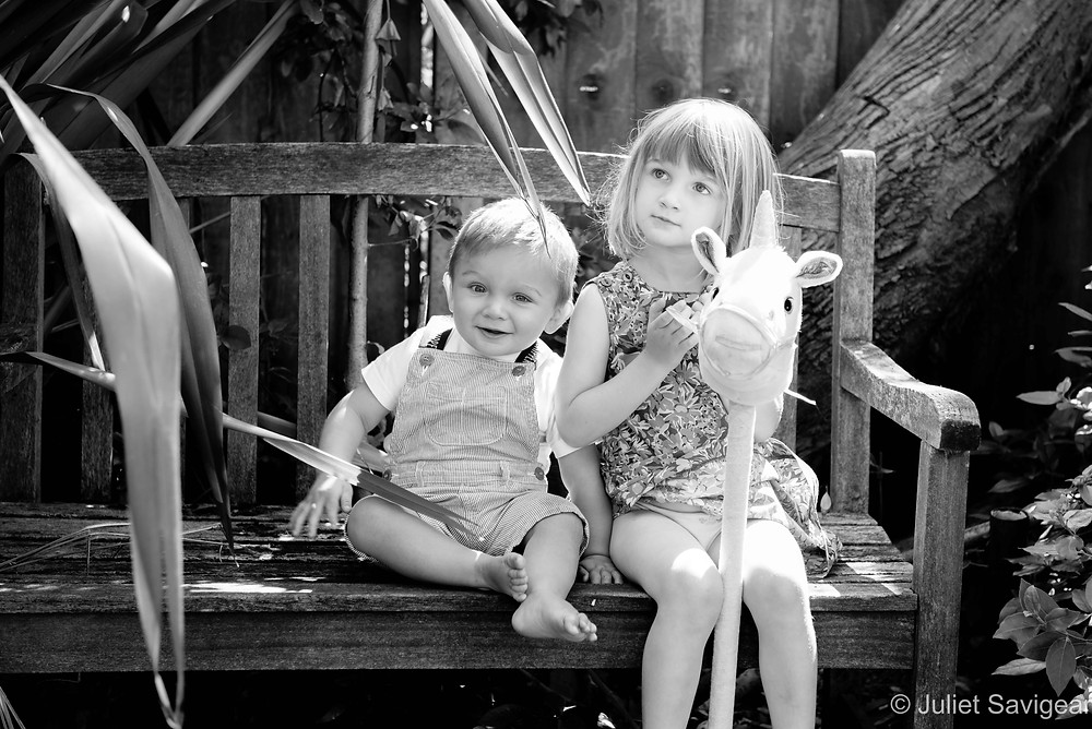 Children on the garden bench
