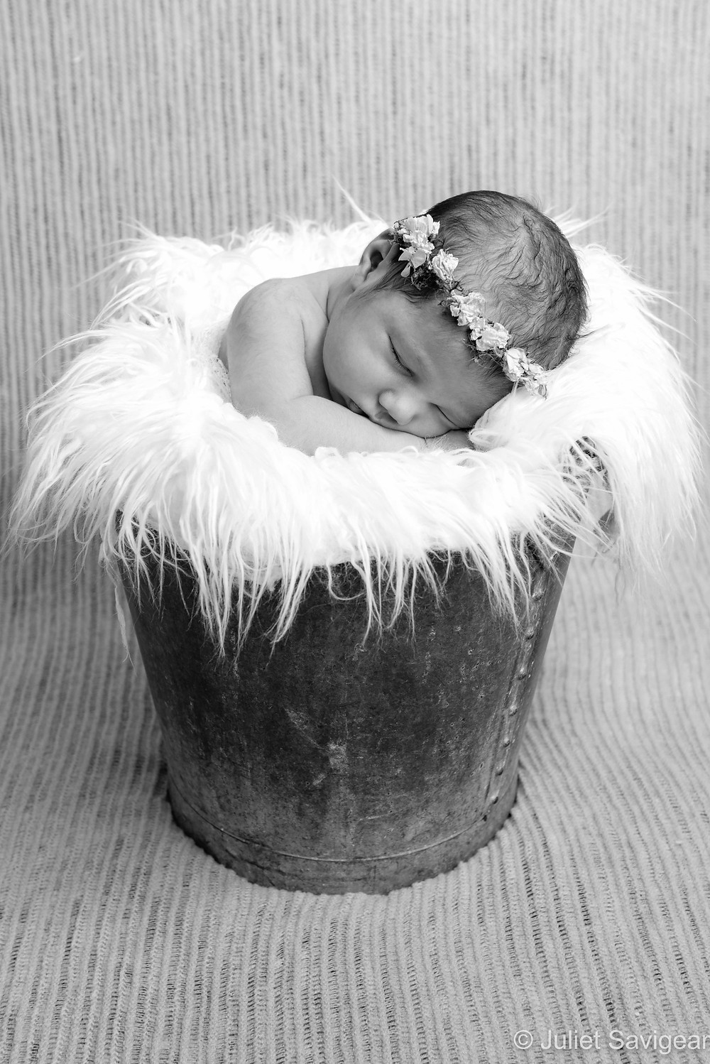 Newborn baby in a bucket with rose headband