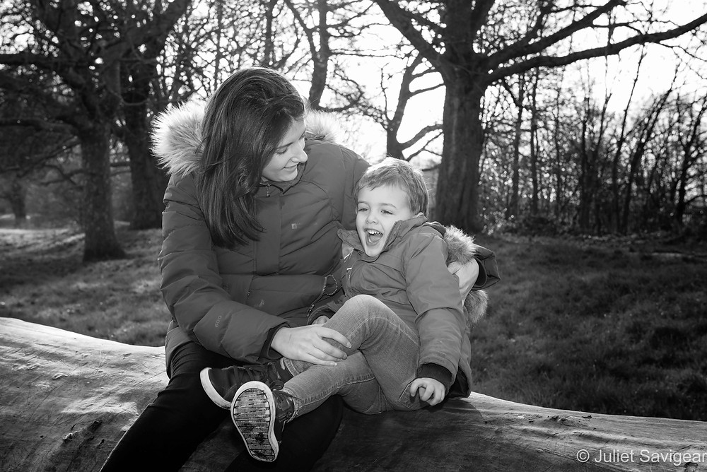 Mother & son on log