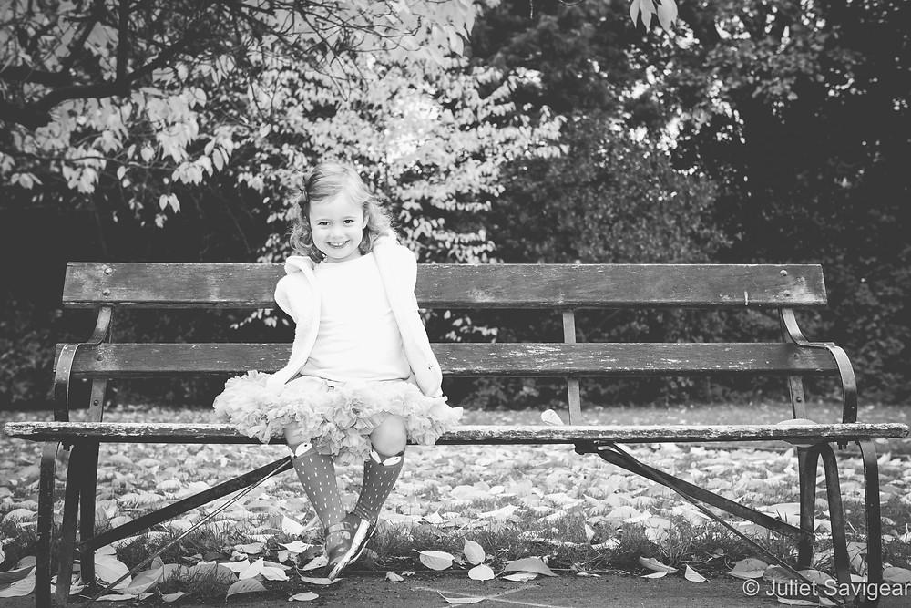 Child on park bench