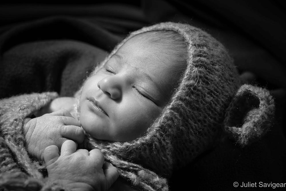 Baby in bear hat