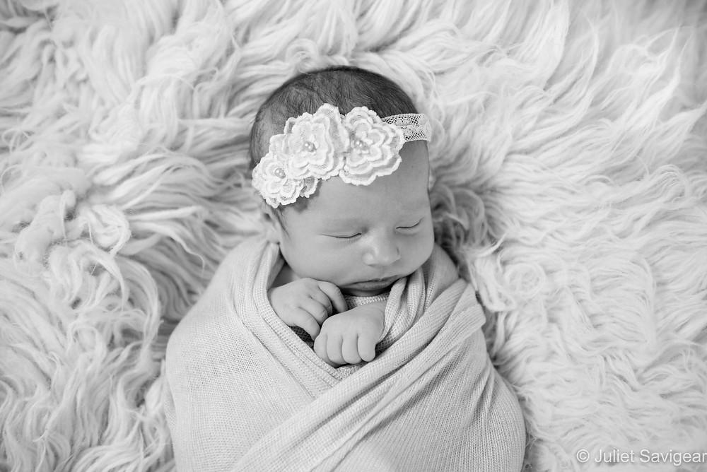 Beautiful baby girl with lace headband