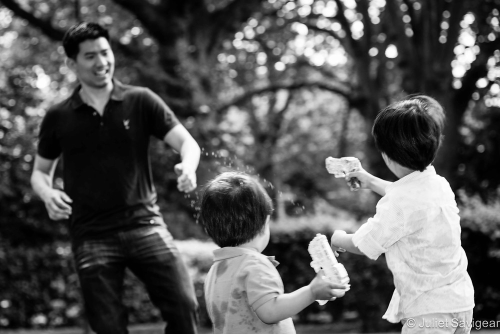 Water Fight! Family Photography, Wapping, London