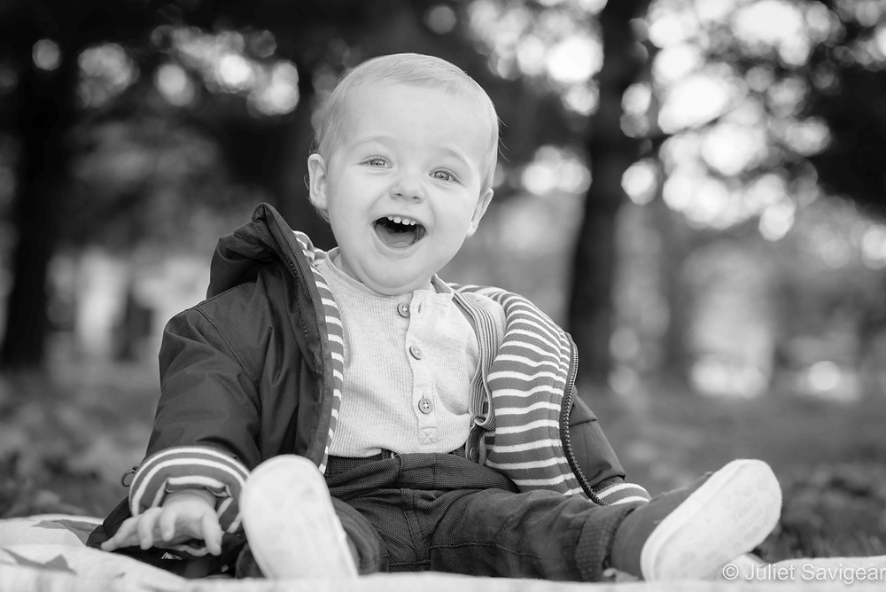 One year old boy in the park