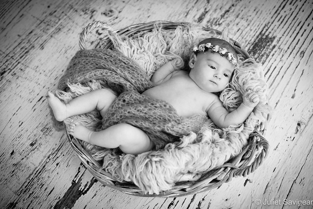 Baby In A Basket - Newborn Baby Photography, Canary Wharf
