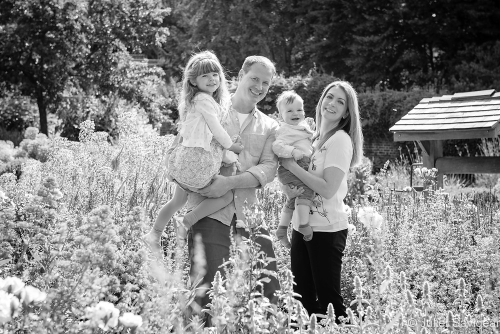 Family portrait among the flowers