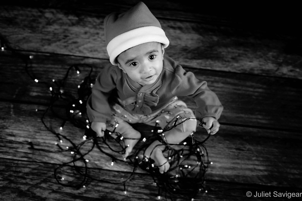 Baby with fairy lights