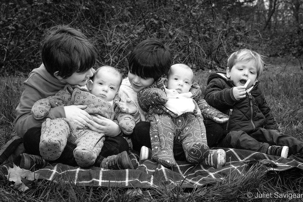 Young cousins with baby twins