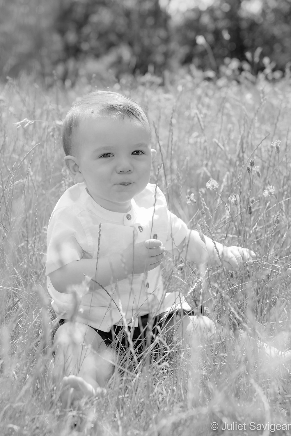 Baby sat in the summer grass