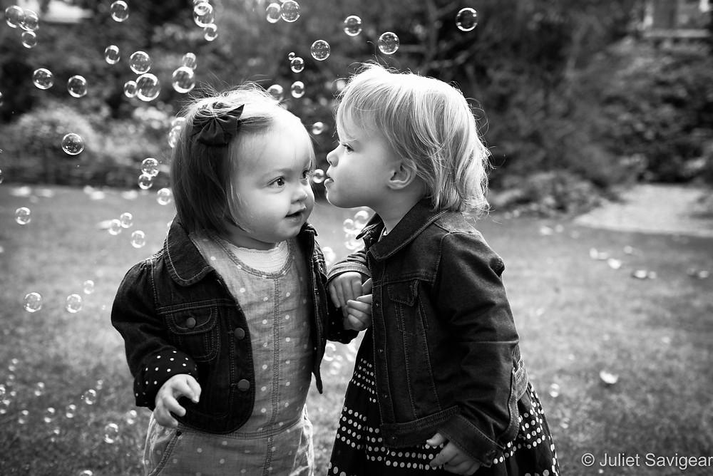 Cousins Kiss - Children's Photographer, South Kensington