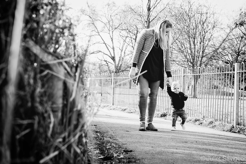Walking with mummy on Clapham Common