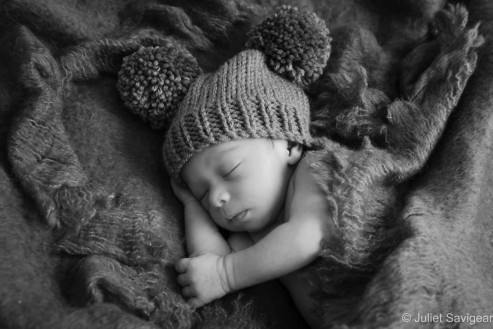 Sleeping Baby With Pom Pom Hat