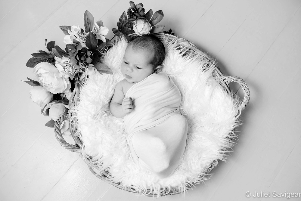 Newborn baby in basket with flowers