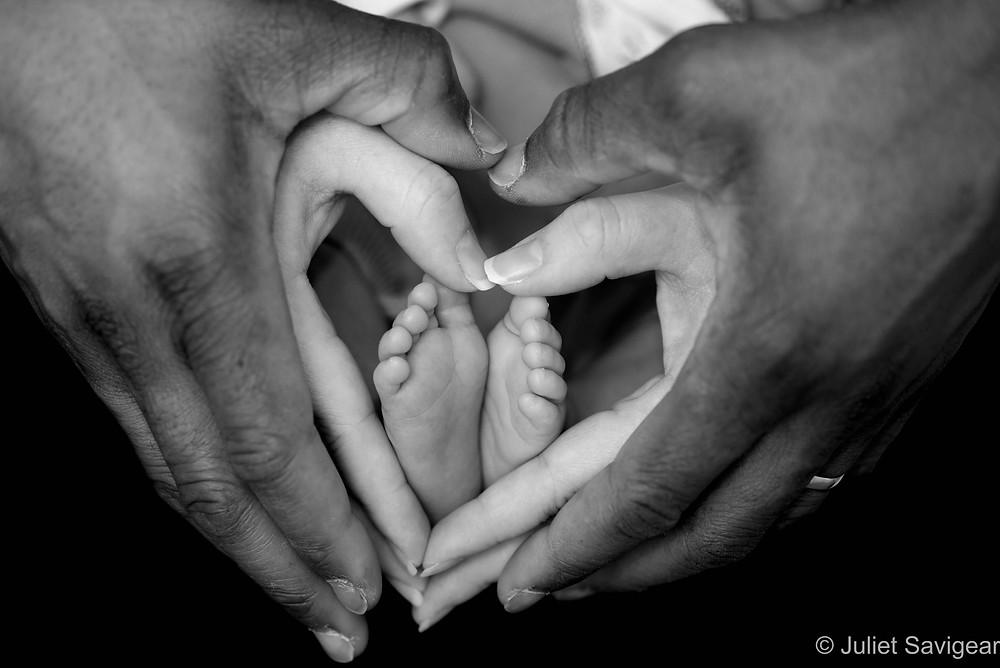 Baby's feet in heart
