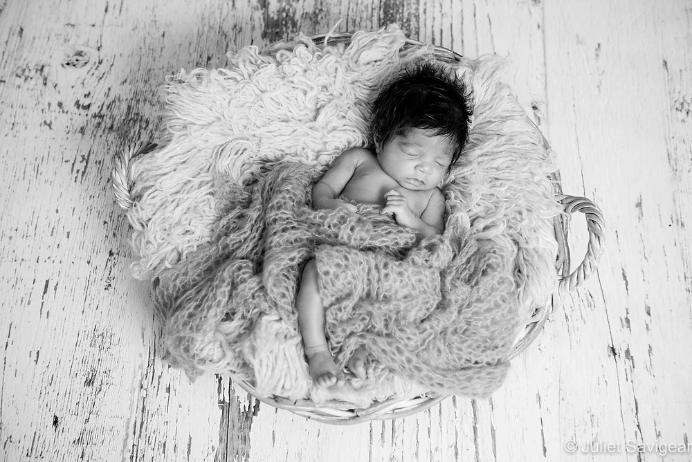 Baby Sleeping In A Basket - Newborn Baby Photograph, Colliers Wood