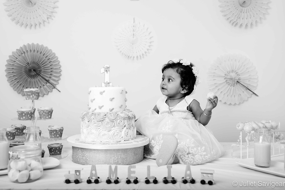 Birthday baby with cake