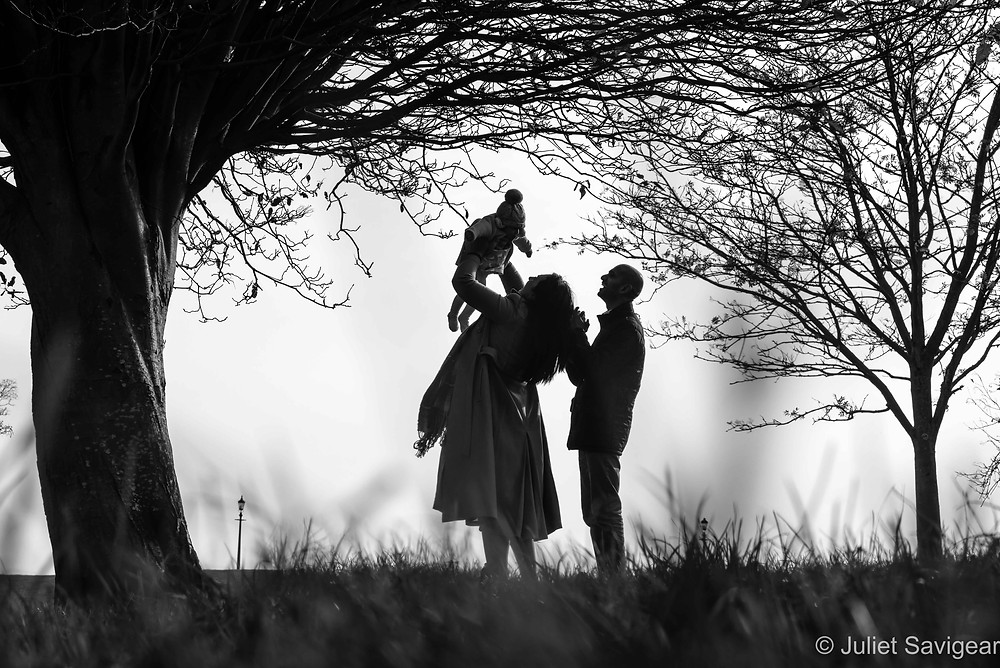 Silhouette of family in the park