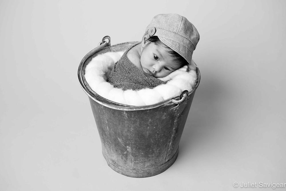 Baby Boy In Bucket - Newborn Baby Photography, Coulsdon