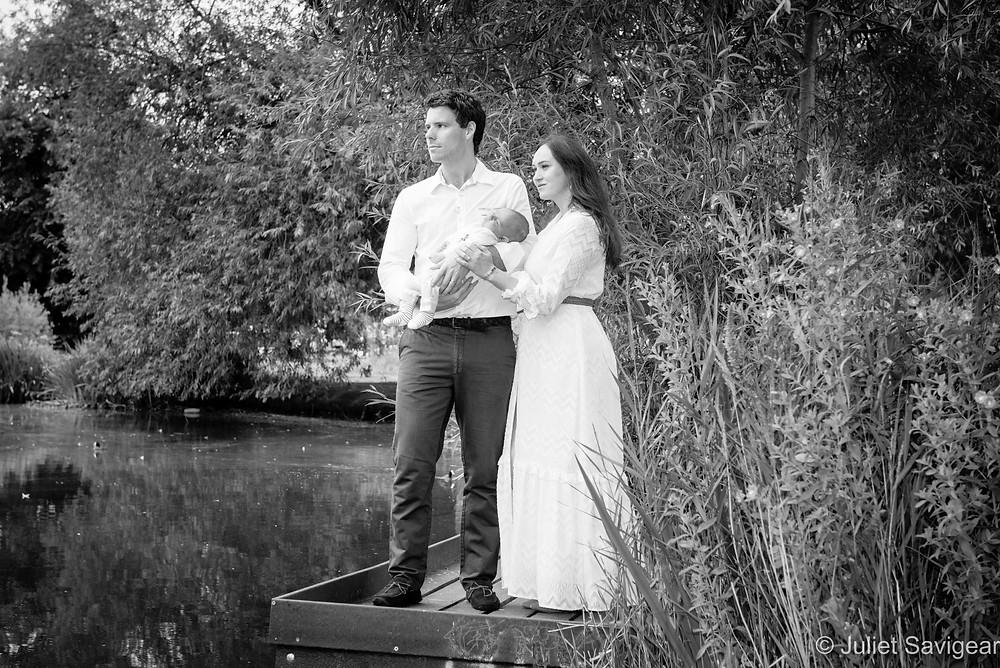 Family portrait by pond