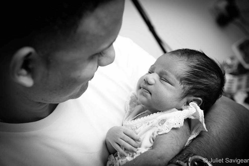 In Daddy's Arms - Newborn Baby Photography, Norbury