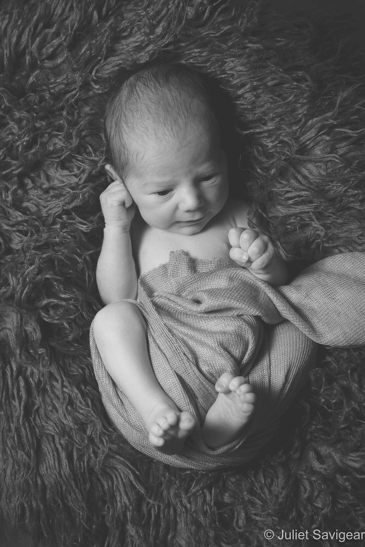 Newborn baby in fluff