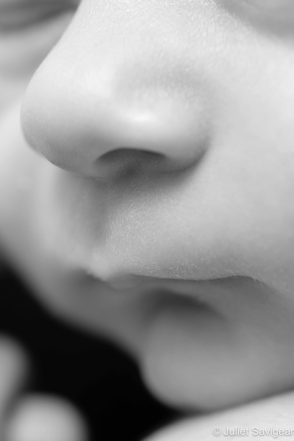 Close up on baby's nose and mouth