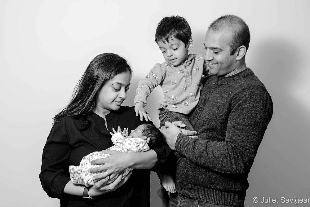 Family portrait with newborn baby