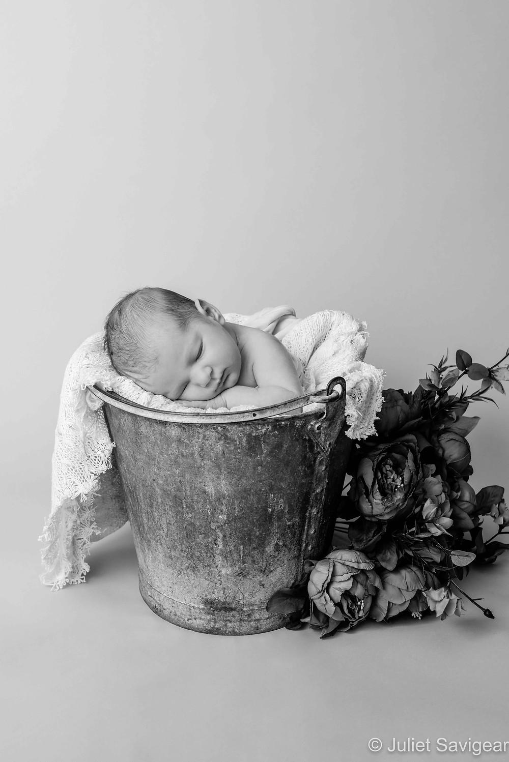 Newborn baby in a bucket