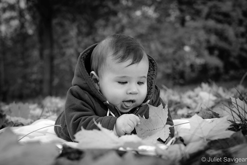 Baby with leaf
