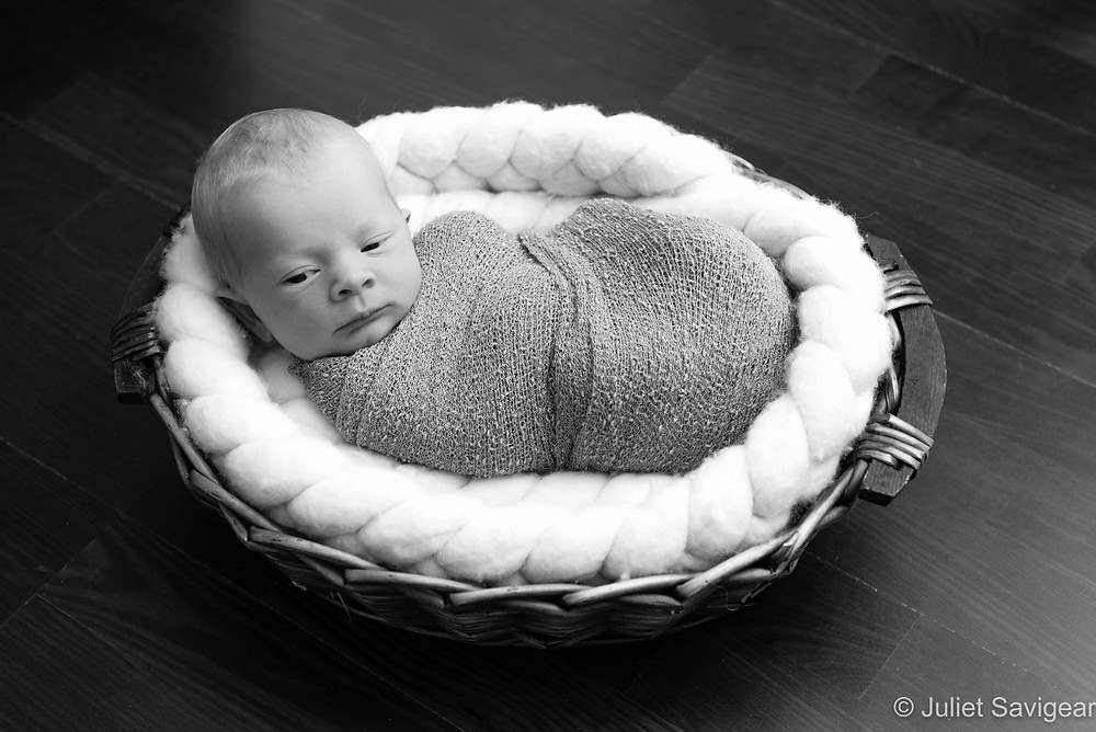Baby In Basket - Newborn Baby Photography, Wimbledon
