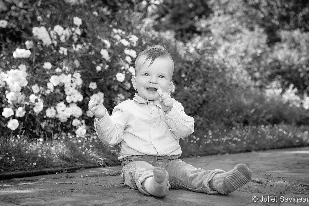 Baby in the white garden