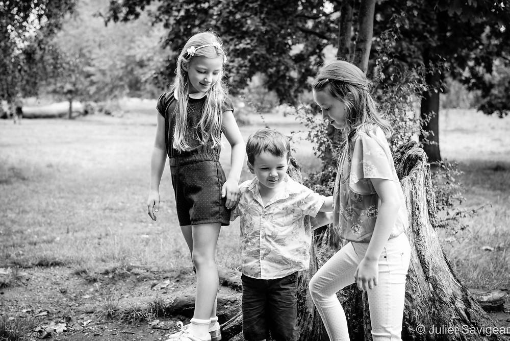 Three children in the park