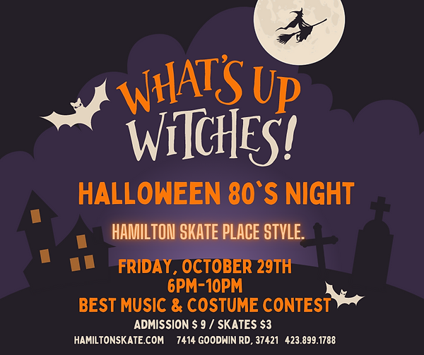 Halloween 80's Music Night at Hamilton Skate Place on Friday, October 29th 6pm-10pm