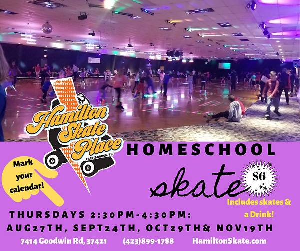 Homeschool Skate Day at Hamilton Skate Place. Fun activity and event for Chattanooga's Homeschool community