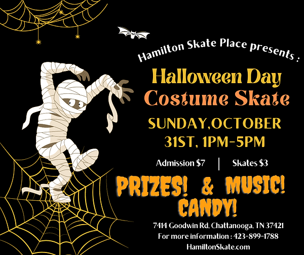 Sunday Funday at Hamilton Skate Place on Halloween 1pm-5pm