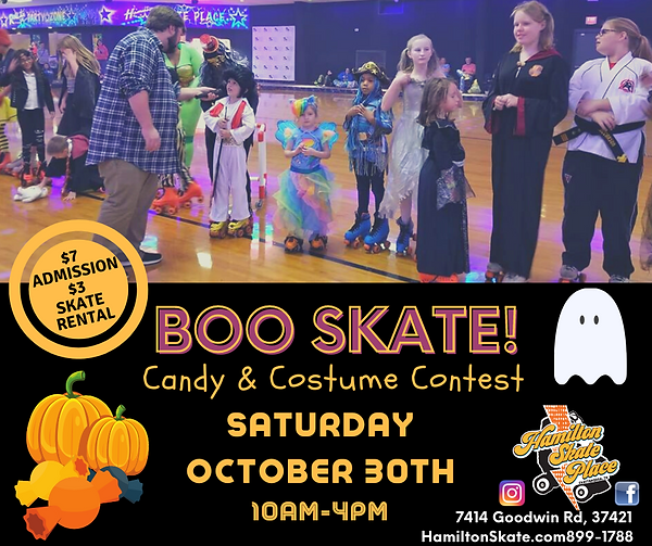 Boo Skate at Hamilton Skate Place on Saturday, October 30th with costume prizes