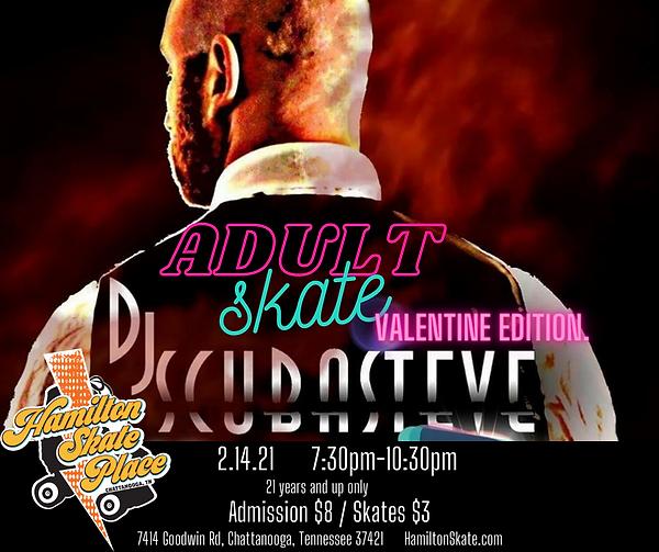 Adult Skate Night at Hamilton Skate Place on 2/14/21 7:30pm