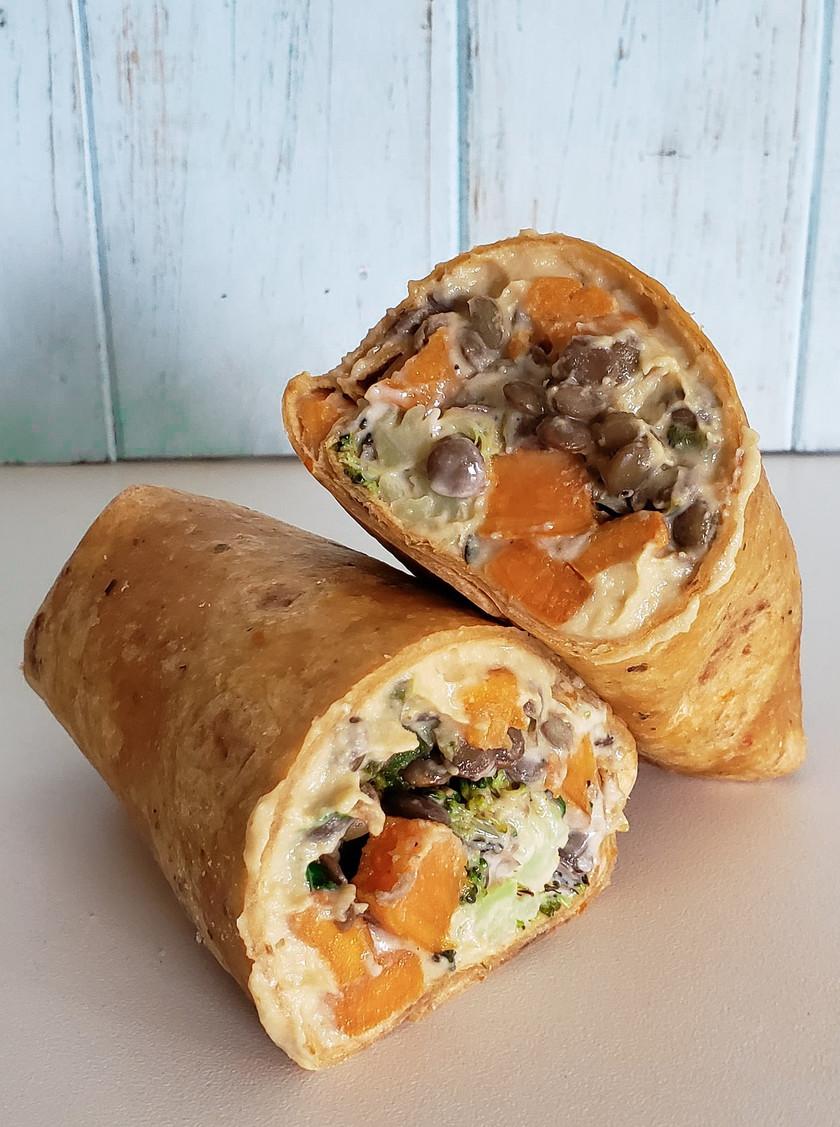 tahini sweet potato wrap