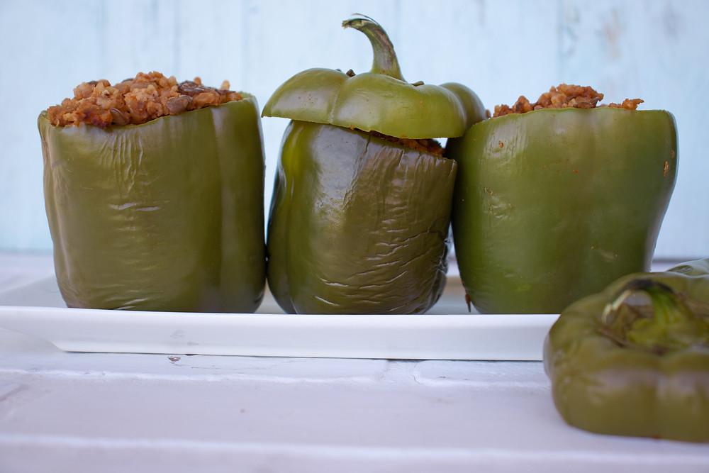 stuffed bell peppers, plant based vegan