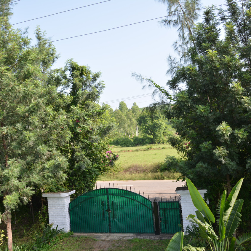 Entrance to the Aanandaa permaculture farm - you can see Morni hills in the backdrop