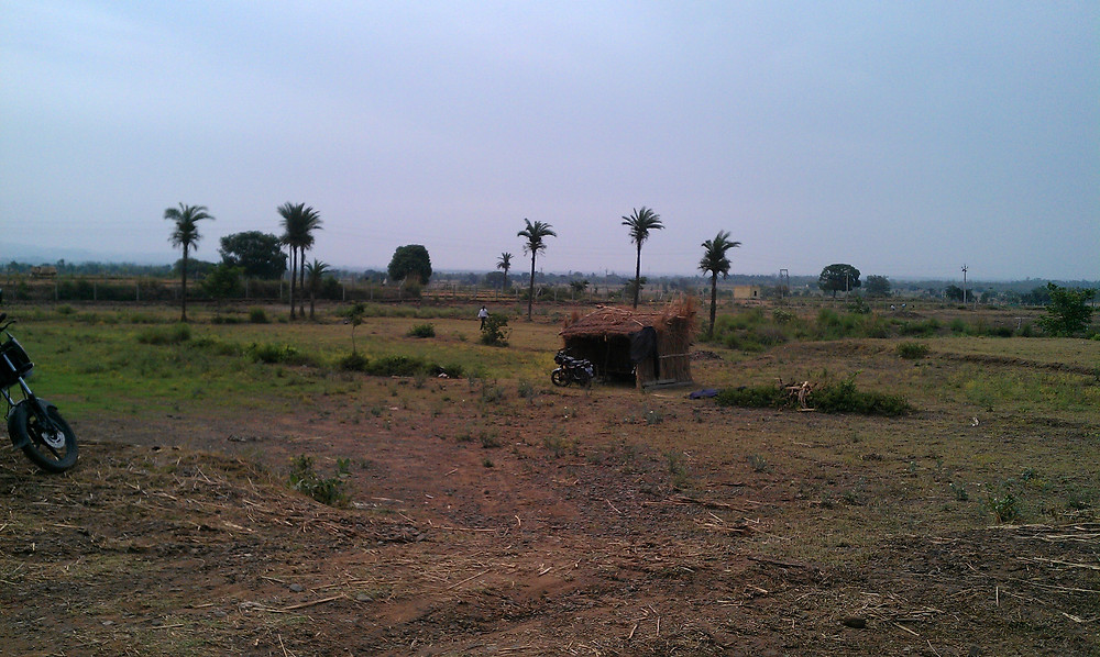 The thatched hut Sunil stayed in for the first few months