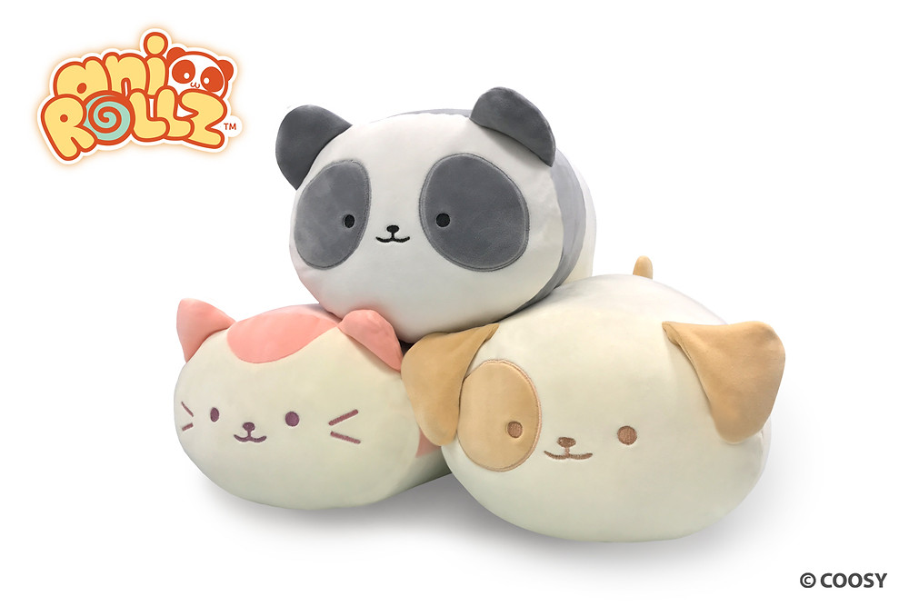 Image of Pandaroll. Kittiroll, and Puppiroll large plushes